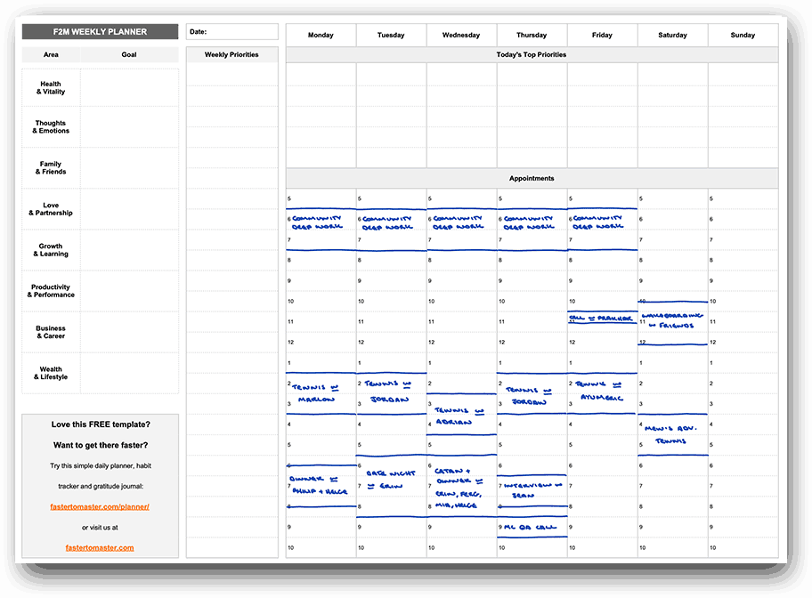 Weekly Planner Template Appointments